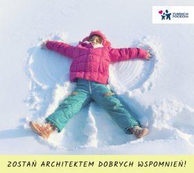 Dziecko na śniegu zbiórka funduszy wyjazd na ferie Fundacja Pociecha